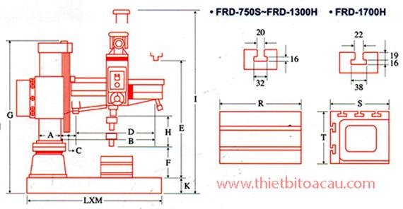 Kích thước máy khoan cần Đài Loan FRD-750S