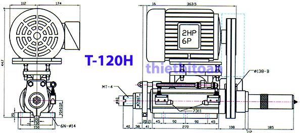 Đầu máy ta rô kiểu trục vít T-120H