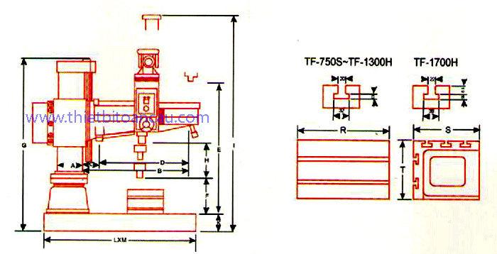 Kích thước máy khoan cần TF-750S